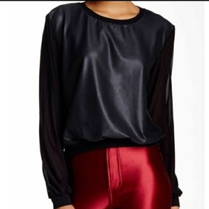 American apparel faux leather sheer sleeve